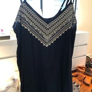 embroidered black tank dress